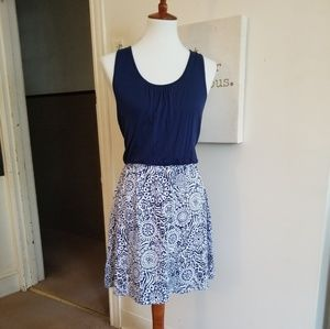 Blue Two-Toned Dress with Racerback